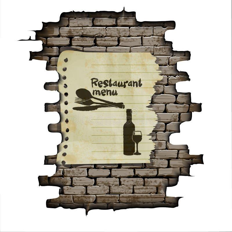 Parede de tijolo do menu do restaurante do molde e um pedaço de papel ilustração do vetor