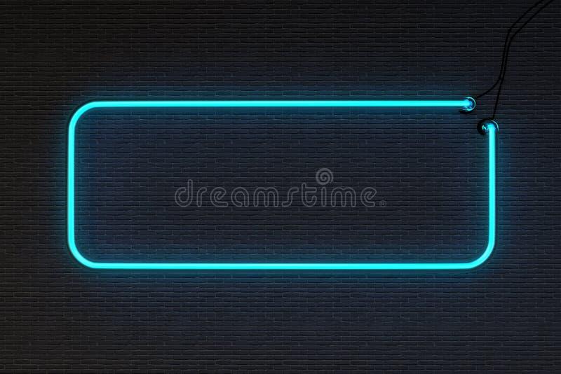 Parede de tijolo do sinal de néon do quadro fotos de stock