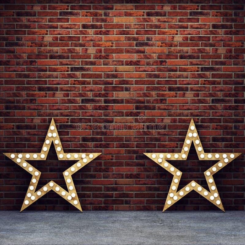 Parede de tijolo e assoalho concreto com estrelas retros ilustração do vetor