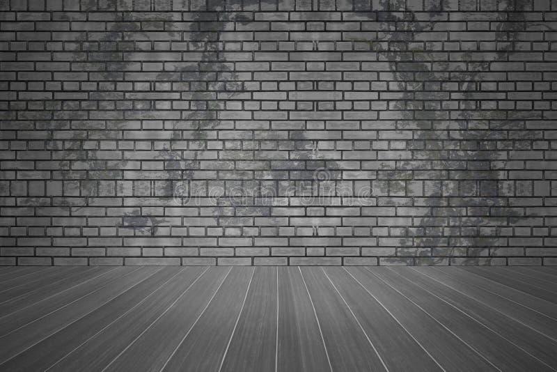 Parede de tijolo e assoalho escuro da textura com espaço da cópia, fundo velho da sala do grunge ilustração do vetor