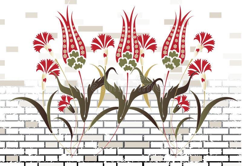 A parede de tijolo e a flor de pedra do otomano projetam a quadriculação ilustração stock