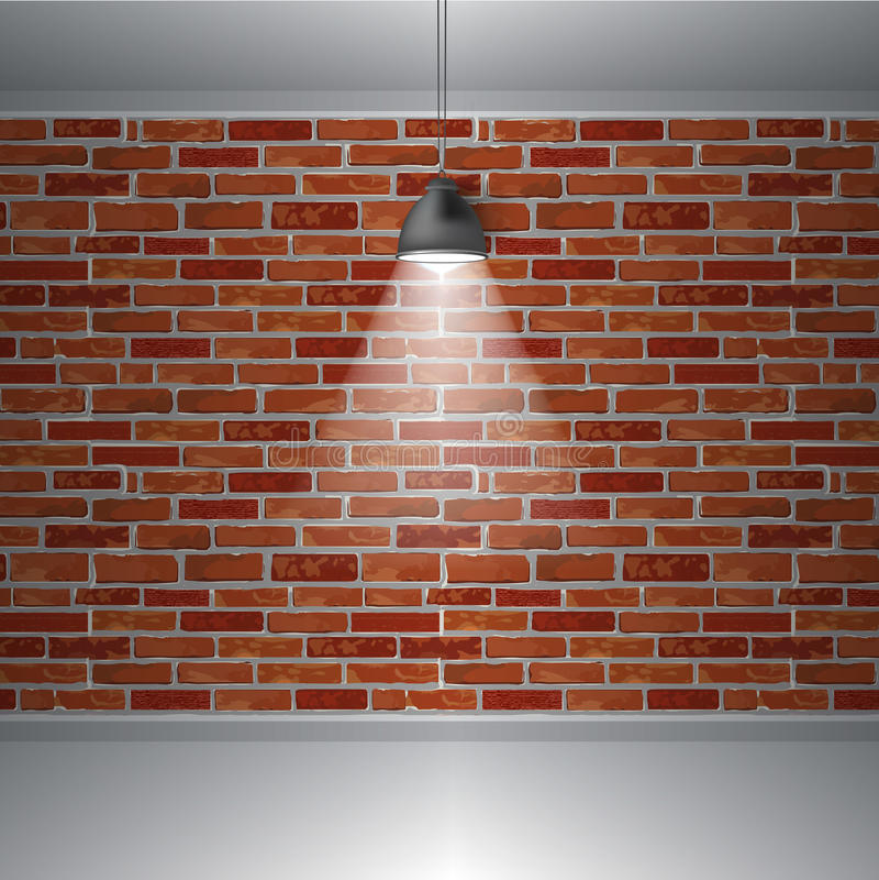 Parede de tijolo e lâmpada, interior retro abstrato do vintage, fundo do vetor ilustração do vetor