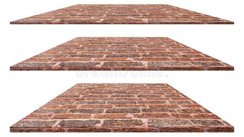 Parede de tijolo isolada no fundo branco para a decoração exterior interior e o projeto industrial da construção imagem de stock