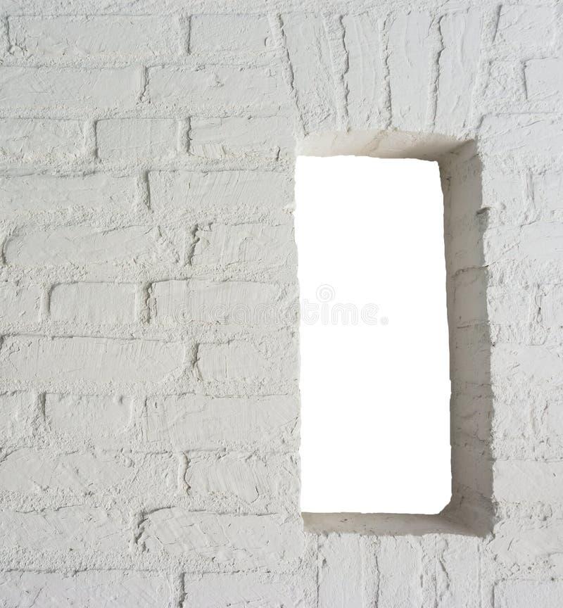 Parede de tijolo pintada branca moderna com textura do fundo do trabalho do quadro aberto imagem de stock royalty free