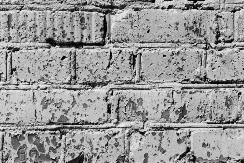 Parede de tijolo pintada velha Fundo abstrato monocrom?tico imagem de stock royalty free