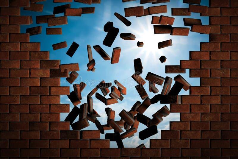 Parede de tijolo que cai para baixo fazendo um furo ao céu ensolarado fora fotografia de stock