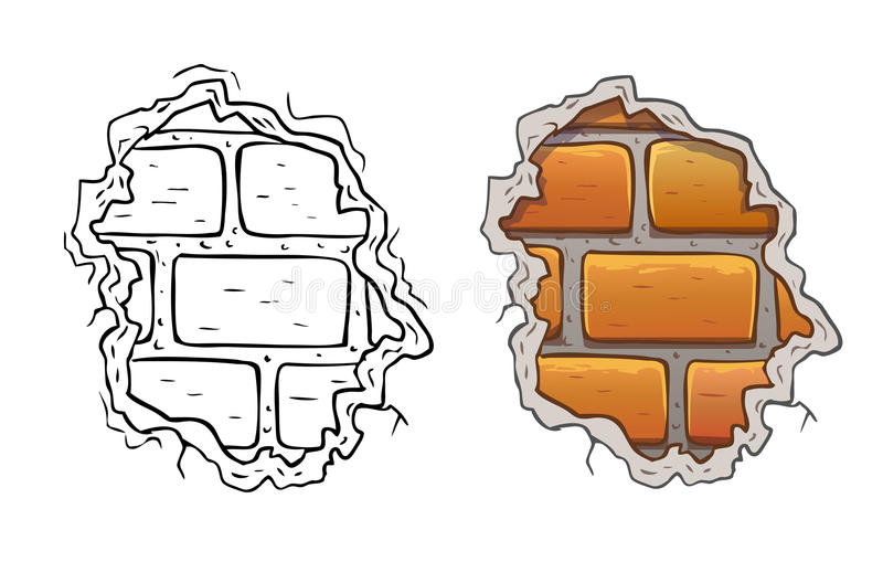 Parede de tijolo rachada ilustração stock