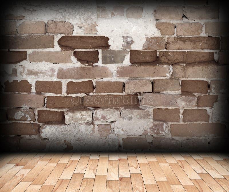 Parede de tijolo rachada no contexto interior foto de stock royalty free