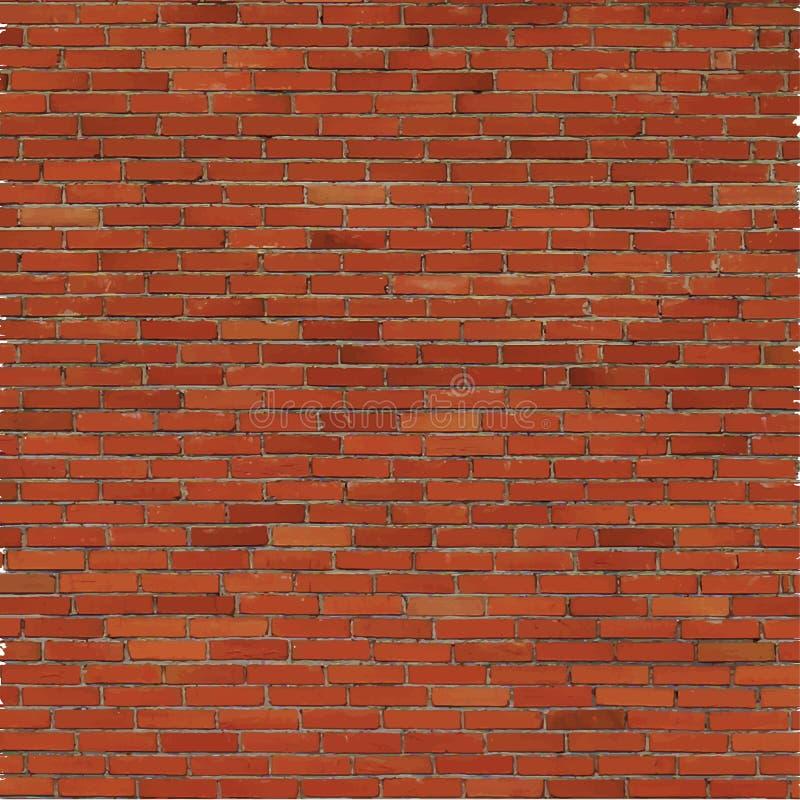 Parede de tijolo, textura vermelha do relevo com sombra ilustração do vetor