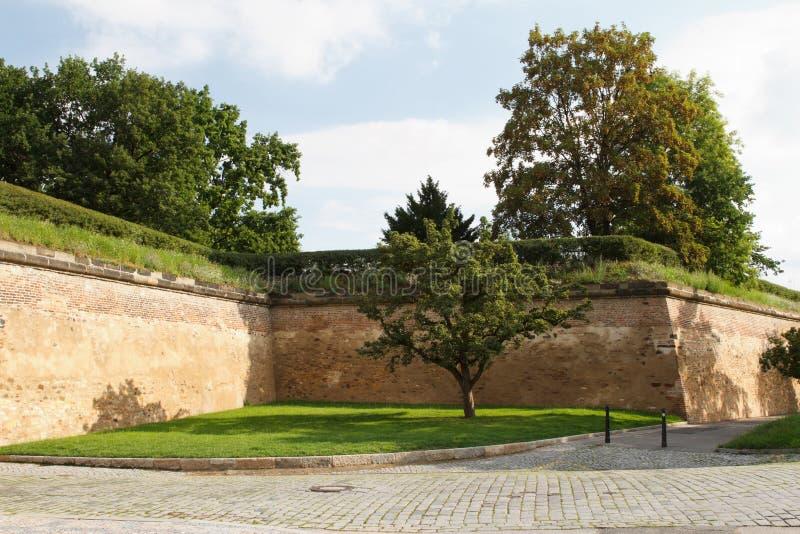 Parede de tijolo velha da fortaleza de Vysehrad Praga, checa imagens de stock royalty free
