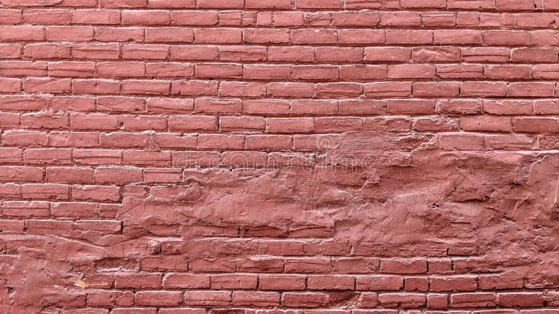 Parede de tijolo velha do grunge pintada no vermelho ilustração stock
