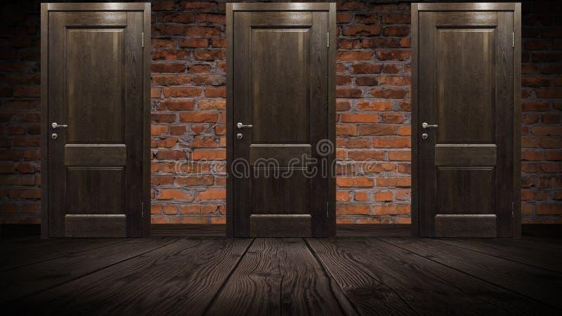 Parede de tijolo velha e porta de madeira, carvalho imagem de stock royalty free