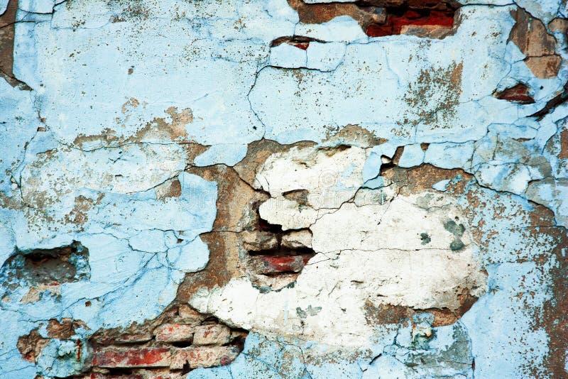 Parede de tijolo vermelho azul velha Fundo e textura abstratos de tijolos rachados e da parede pintada azul fotos de stock