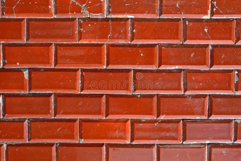 Parede de tijolo vermelho marrom gasto, fundo textured fotografia de stock