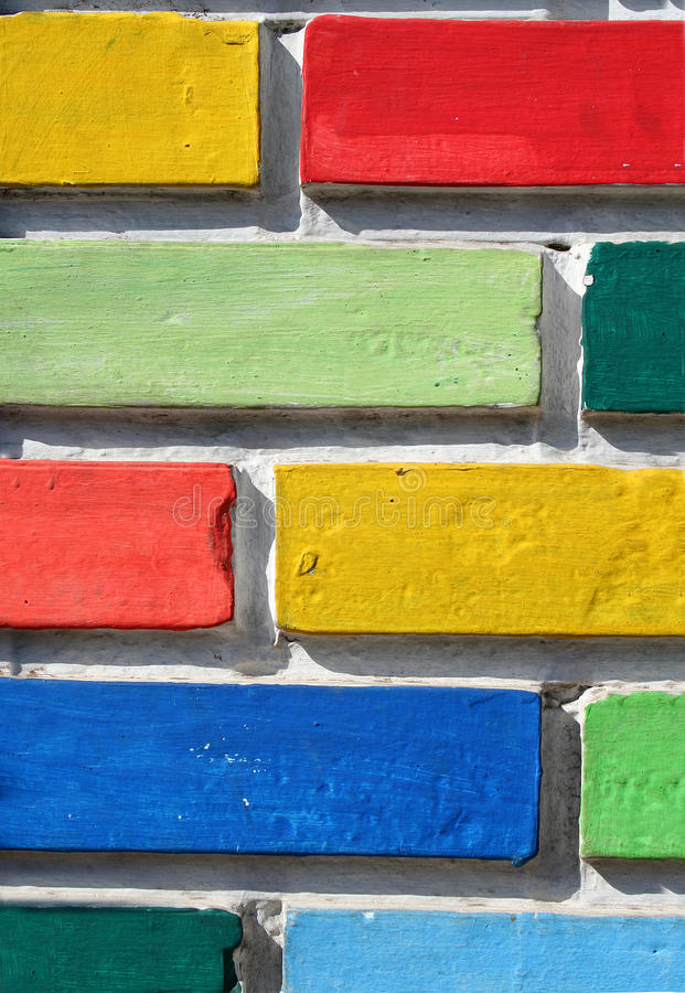 Parede de tijolos colorida fotos de stock