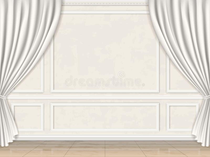 A parede decorou moldes e cortinas do painel ilustração do vetor
