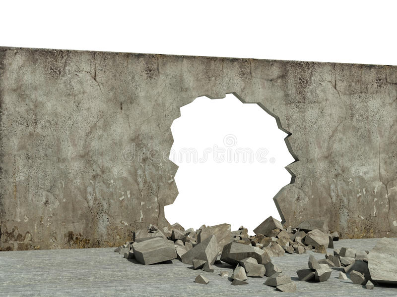 Parede destruída da estrutura concreta ilustração do vetor