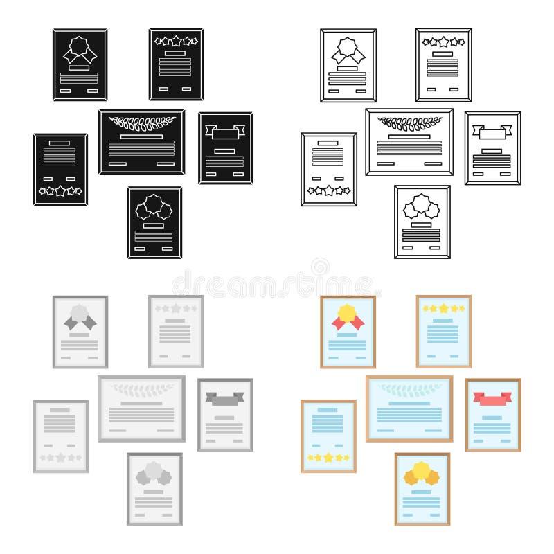 Parede do ícone dos certificados no estilo dos desenhos animados isolado no fundo branco Mobiliário de escritório e estoque inter ilustração stock
