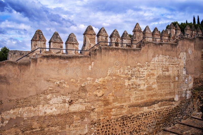 Parede do castelo da fortaleza de Gibralfaro, Malaga, Espanha foto de stock royalty free