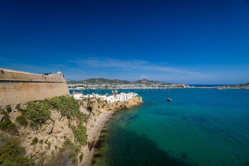 Parede do castelo de Ibiza imagem de stock royalty free
