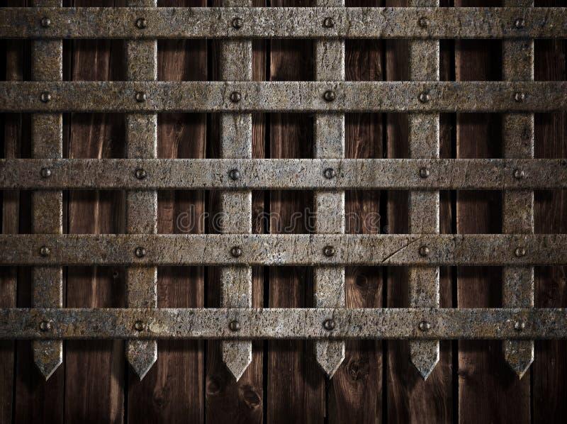 Parede do castelo ou porta medieval do metal imagem de stock