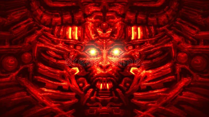 Parede do Cyber com bas-relevo principal do robô no formulário da cara da mulher Cor vermelha ilustração stock