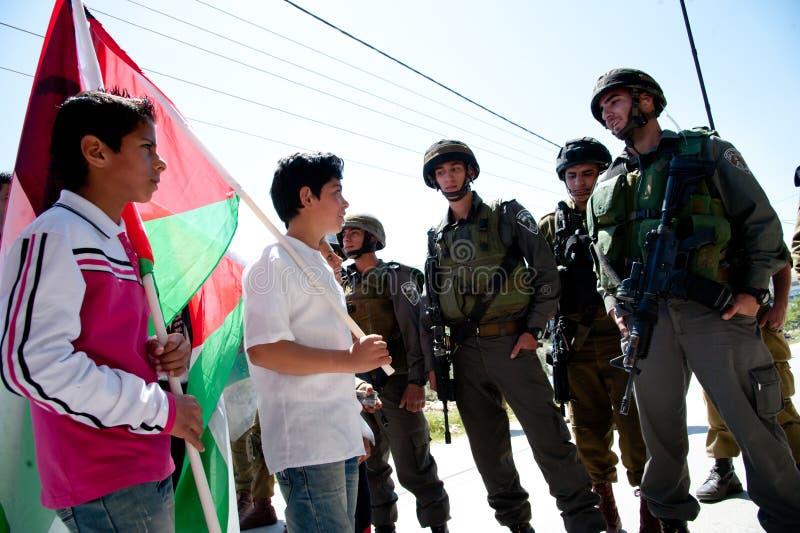 Parede do Israeli do protesto dos palestinos foto de stock royalty free