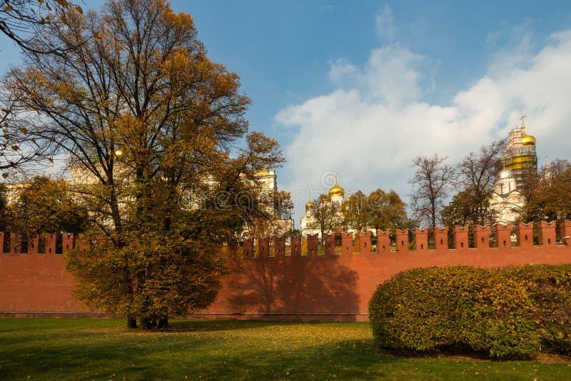 Parede do Kremlin de Moscou, abóbadas douradas da catedral do aviso na imagens de stock