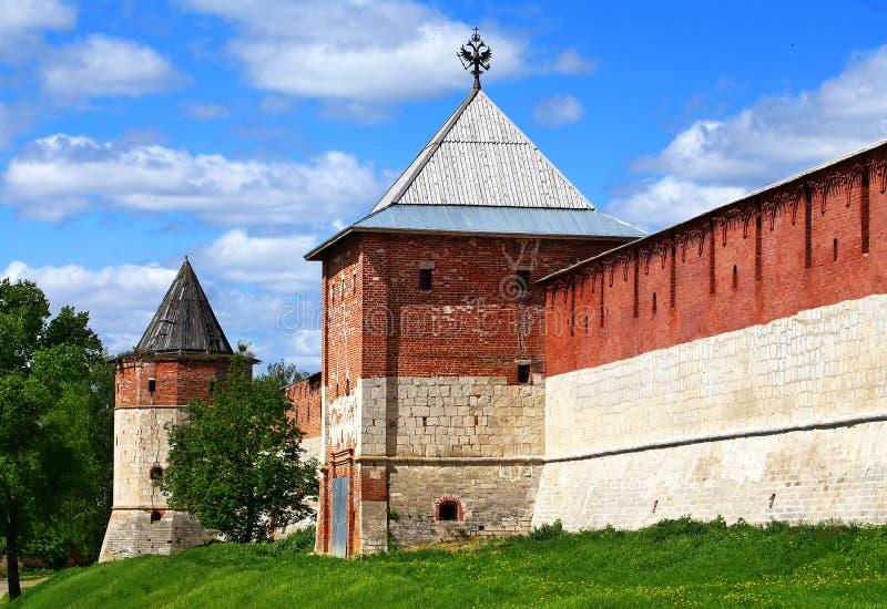 Parede do Kremlin de Zaraysk fotos de stock