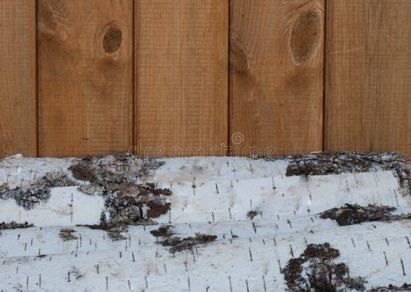parede do lenha do vidoeiro e a de madeira fotografia de stock