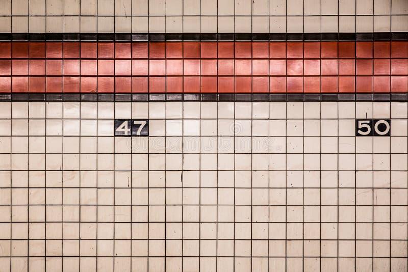 Parede do metro de NYC fotografia de stock