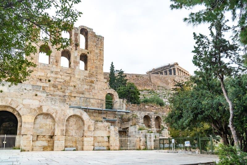 Parede do norte de Athene Amphitheater, Grécia foto de stock royalty free