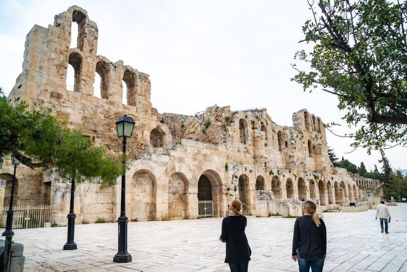 Parede do norte de Athene Amphitheater, Gr?cia fotos de stock royalty free