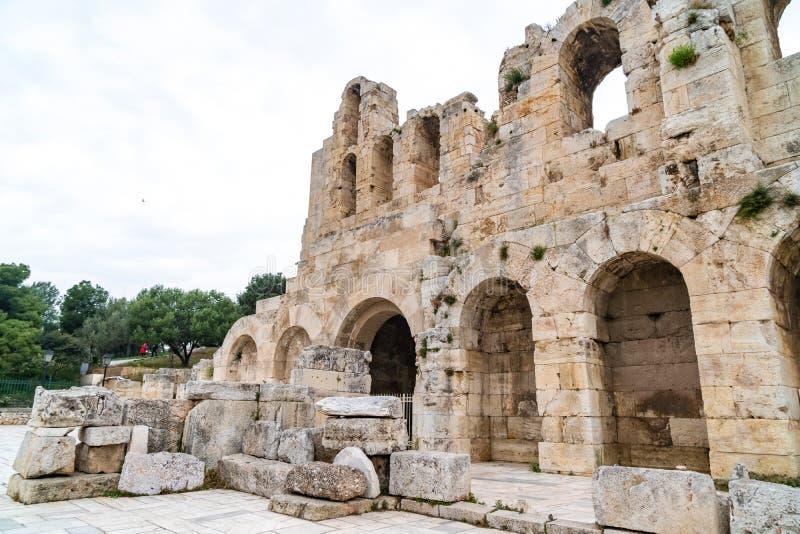 Parede do norte de Athene Amphitheater, Gr?cia fotos de stock
