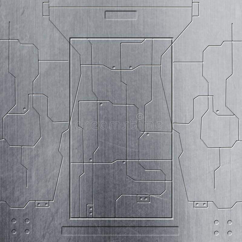 Parede do Scifi parede e circuitos do metal do cromo Fundo do metal ilustração do vetor