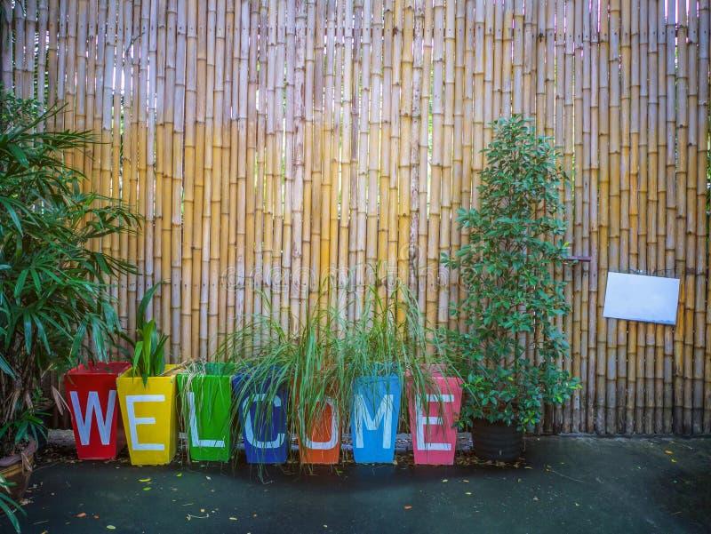 Parede do sinal bem-vindo e do bambu imagem de stock royalty free