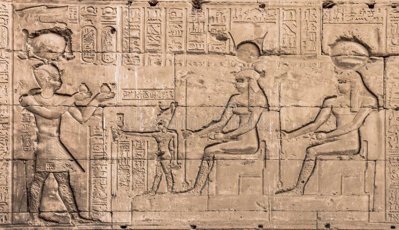 Parede do templo de Hathor em Dendera imagens de stock royalty free
