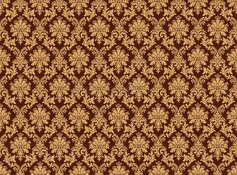 Parede do teste padrão do damasco ilustração royalty free