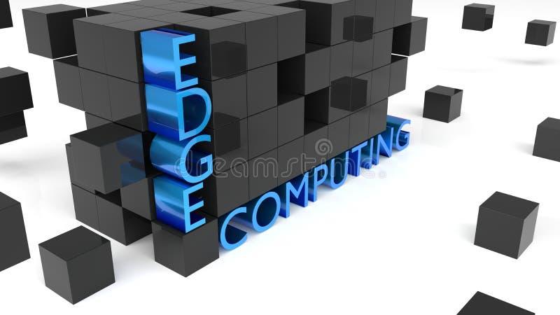 A parede dos cubos pretos que guardam a palavra afia a computação ilustração stock
