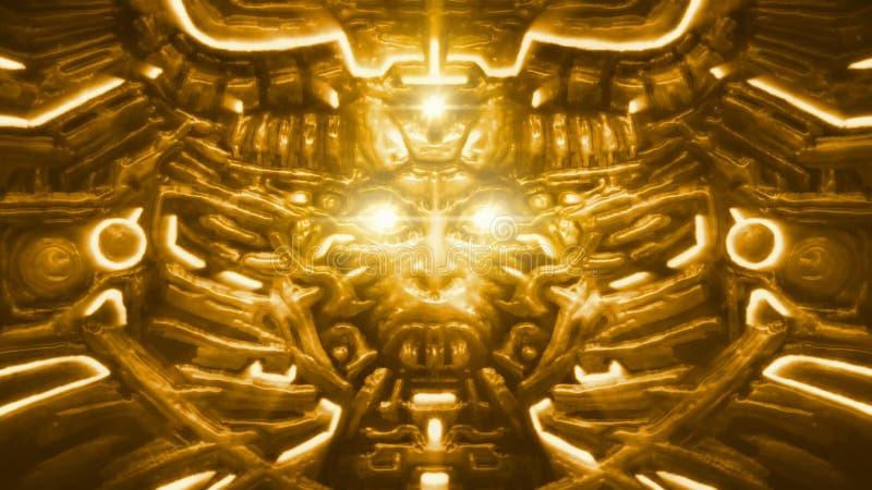 Parede dourada da deusa com bas-relevo da cara da mulher Cor alaranjada ilustração royalty free