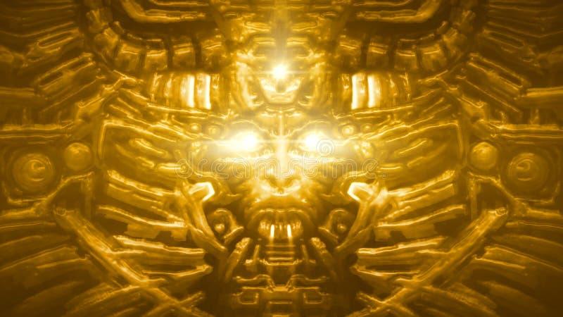 Parede dourada da deusa com bas-relevo da cara da mulher Cor alaranjada ilustração stock