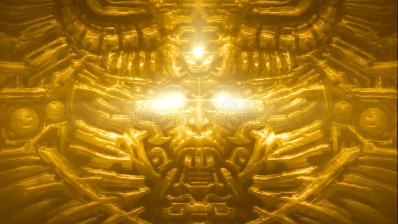 Parede dourada da deusa com bas-relevo da cara da mulher Cor alaranjada ilustração do vetor