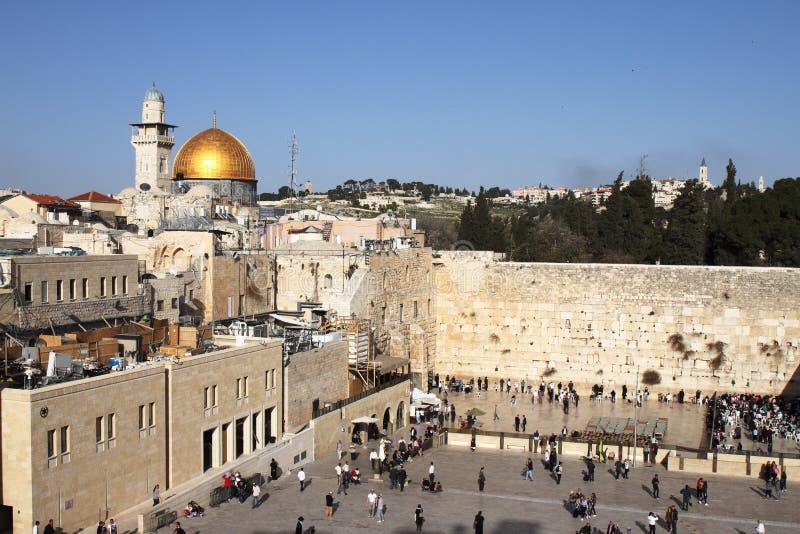 Parede e abóbada ocidentais da rocha - Jerusalém - Israel foto de stock
