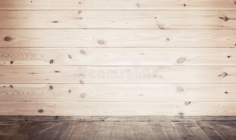 Parede e assoalho de madeira, vista frontal imagens de stock