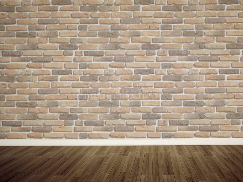 Parede e assoalho vazios de tijolos fotografia de stock royalty free