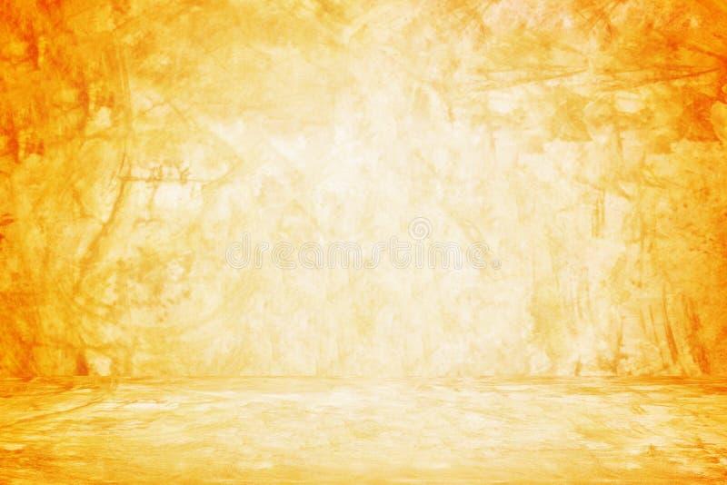 parede e fundo alaranjados da sala de exposições para o produto da apresentação fotos de stock royalty free