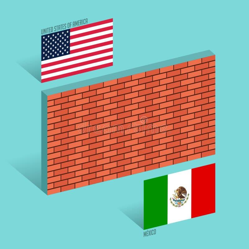Parede entre ilustração do vetor do conceito da parede da beira do Estados Unidos e do México ilustração stock
