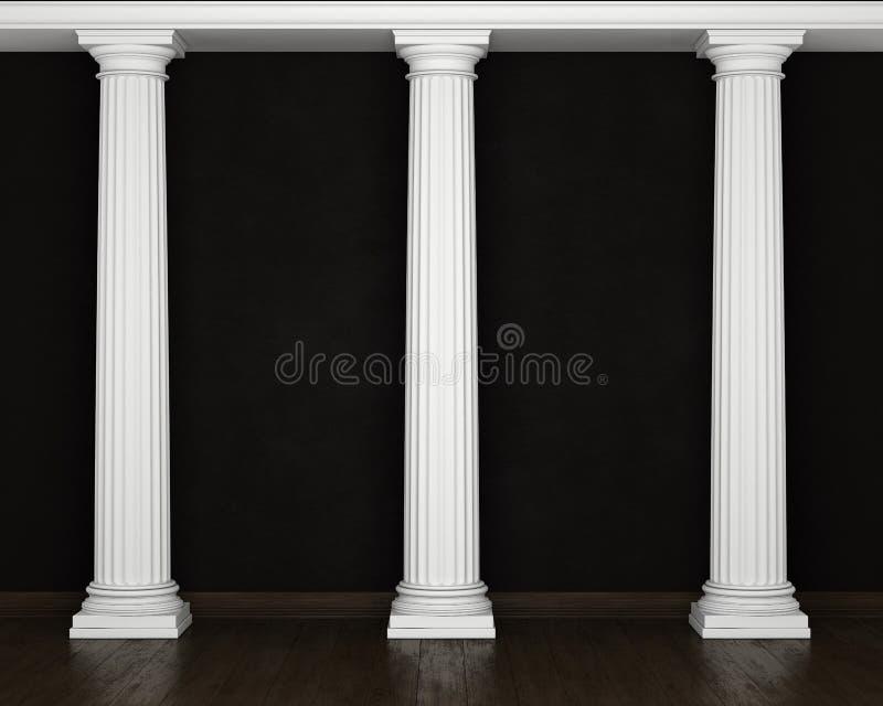 Parede escura do estuque com colunas clássicas e o assoalho de madeira ilustração royalty free