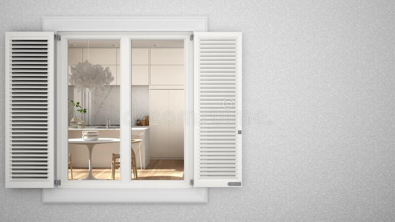 Parede exterior de gesso com janela branca com obturadores, mostrando sala de jantar interior, fundo em branco com espaço de cópi ilustração royalty free