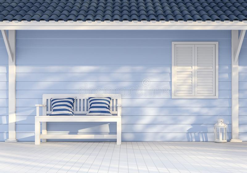 Parede exterior vazia com a prancha de madeira azul 3d para render ilustração do vetor
